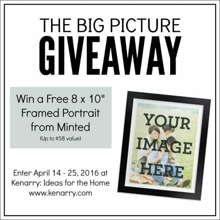 "Enter to win the Big Picture Giveaway at Kenarry.com for a free 8 x 10"" framed portrait from Minted. The giveaway runs April 14 - 25, 2016."