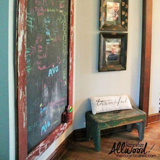 A huge DIY chalkboard on the wall