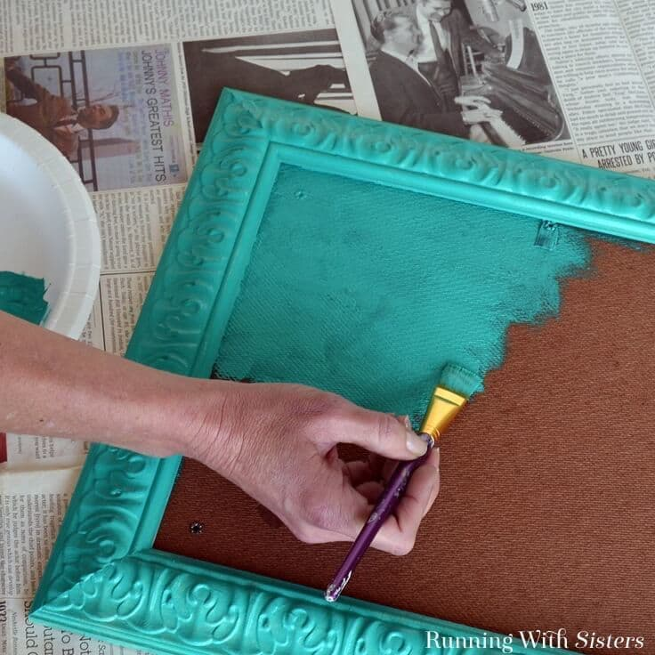 Painting a frame teal