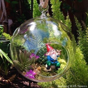 Make a Gnome Bubble Garden with faux succulents!