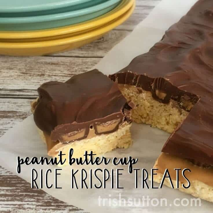 A sweet no bake treat for summer parties, sleepovers and all those Peanut Butter & Chocolate lovers. Peanut Butter Cup Rice Krispie Treats. By Trish Sutton, trishsutton.com