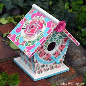 Make a mosaic birdhouse using scrapbook paper!