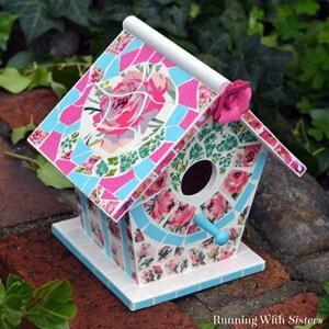 Make a mosaic birdhouse using scrapbook paper!