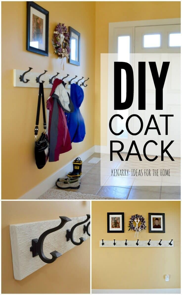 Coat rack an easy wall mounted idea with hooks love this idea for a diy coat rack it is so easy to make one solutioingenieria Choice Image