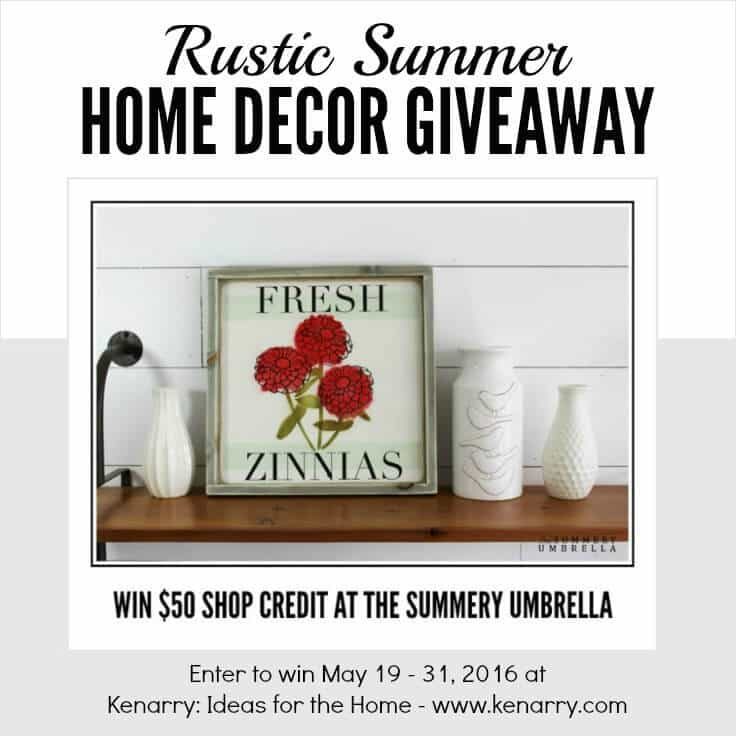 Enter to win $50 shop credit to The Summery Umbrella on Etsy in our Rustic Summer Home Decor Giveaway, May 19 - 31, 2016