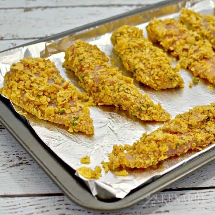 Tortilla Crusted Chicken on a baking sheet
