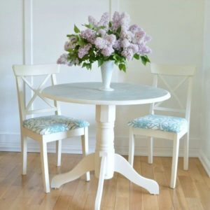 Dining Table Makeover With A Painted Doily Top