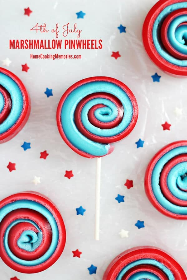 4th of July Marshmallow Pinwheels – Home Cooking Memories - Patriotic Treats for 4th of July featured on Kenarry.com