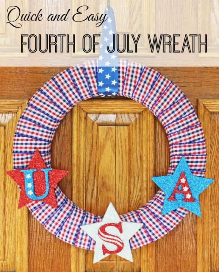 Quick and Easy 4th of July Wreath – Life on Merlin - 4th of July Wreaths featured on Kenarry.com