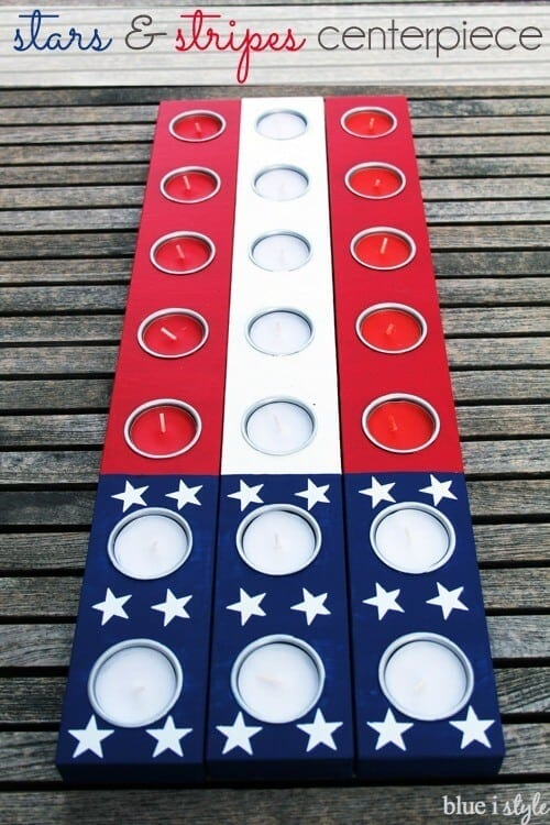 Stars and Stripes Candle Holder Centerpiece - Blue i Style - 4th of July Party Decor featured on Kenarry.com