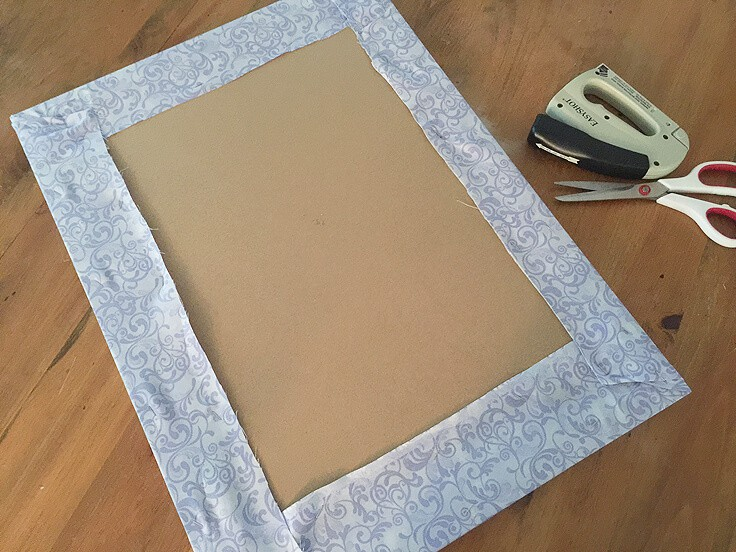 DIY ribbon bulletin board fabric wrap
