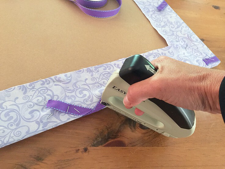 DIY ribbon bulletin board staple