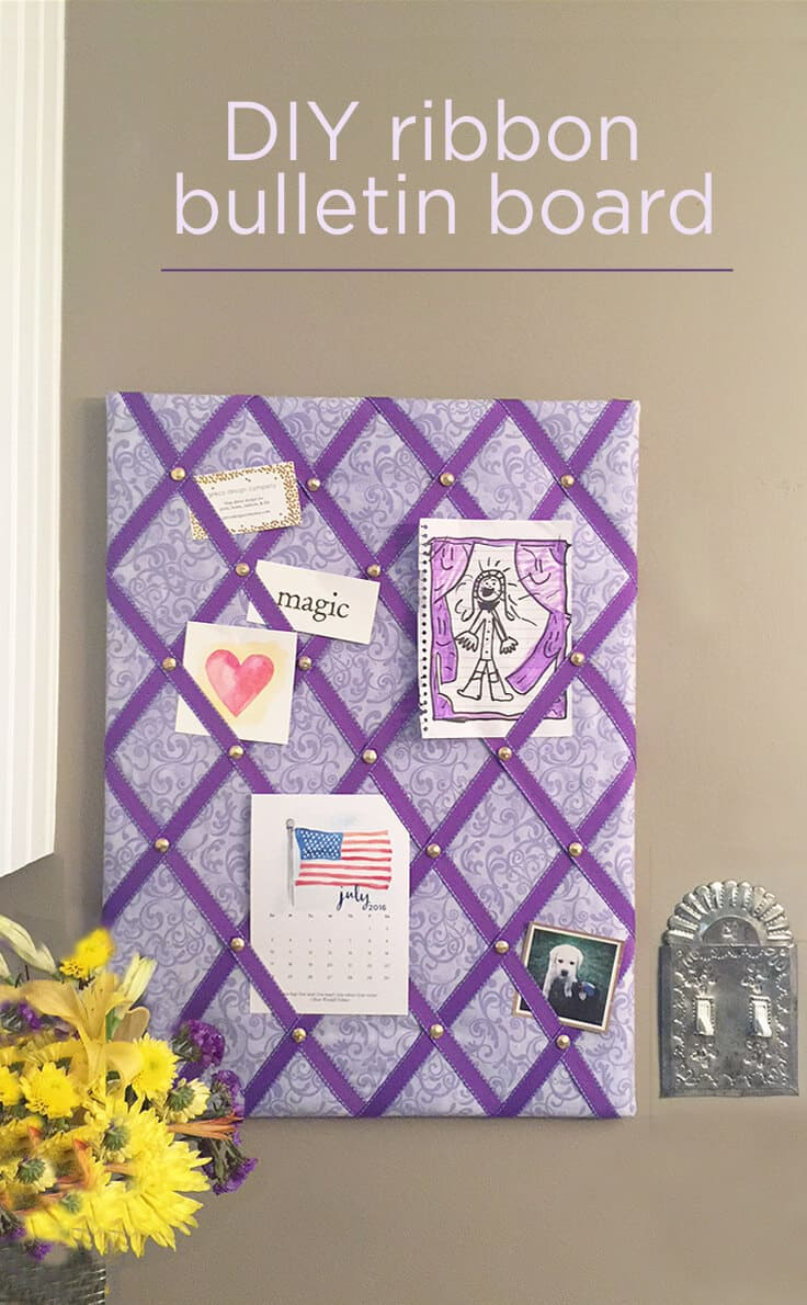 DIY ribbon bulletin board