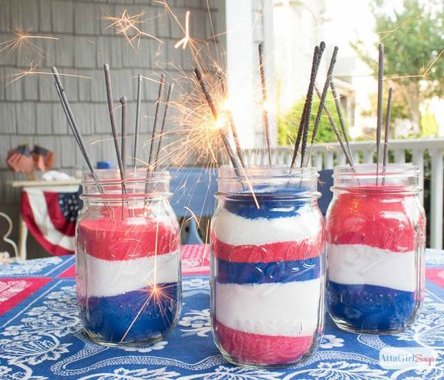 Patriotic Sand Art Mason Jar Decorations – AttaGirl Says - 4th of July Party Decor featured on Kenarry.com