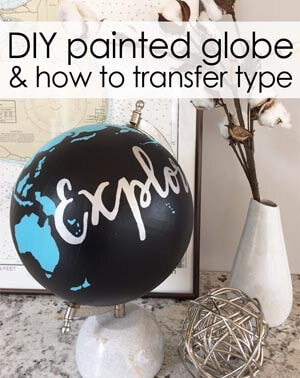 DIY painted globe with type