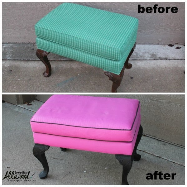 A before and after painted footstool
