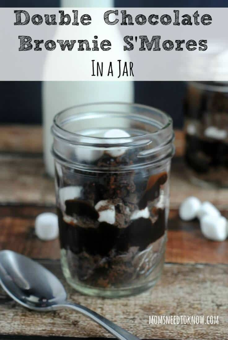 Double Chocolate Brownie S'Mores in a Jar – Moms Need to Know - 18 delicious s'mores recipes featured on Kenarry.com