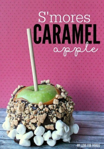 S'mores Caramel Apple – My Love for Words - 18 delicious s'mores recipes featured on Kenarry.com