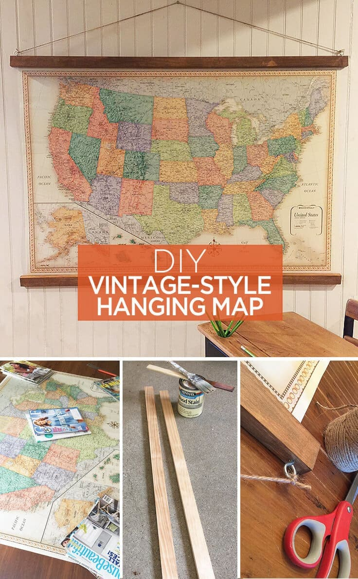 DIY vintage style hanging map   great ideas to use as home decor or wallVintage Style Hanging Map  An Easy DIY Decor Idea. Diy Vintage Home Decor. Home Design Ideas
