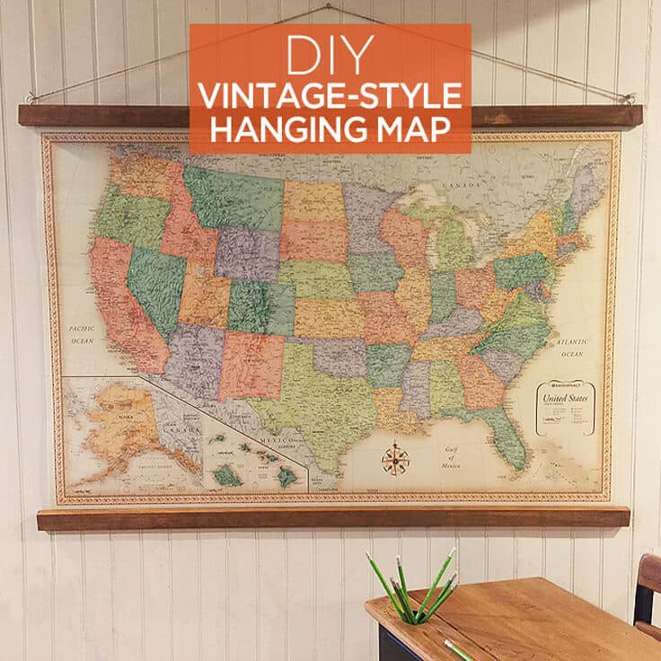 DIY hanging vintage map