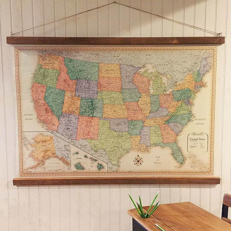 DIY Vintage-Style Hanging Map