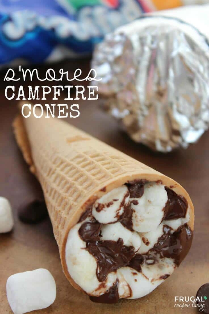 S'mores Campfire Cones – Frugal Coupon Living - 18 delicious s'mores recipes featured on Kenarry.com