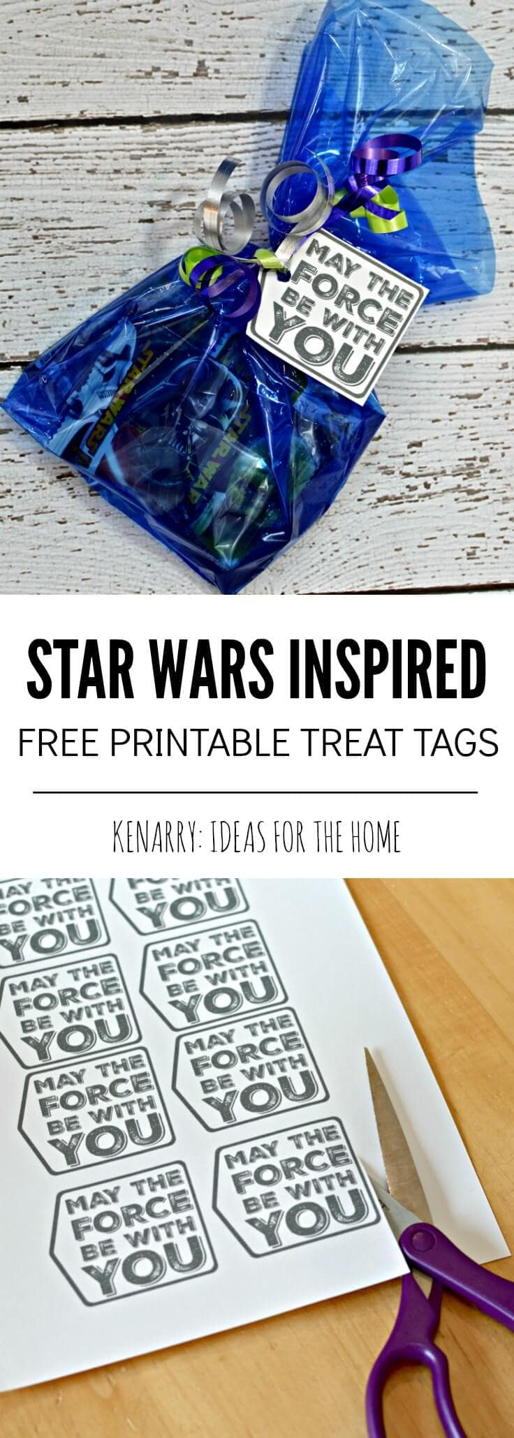 A cute star wars birthday party gift bag with a tag that reads May the Force Be With You
