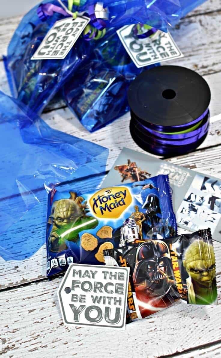 Ribbon, Star Wars Treats, bags, and tags for Star Wars birthday party treat bags.