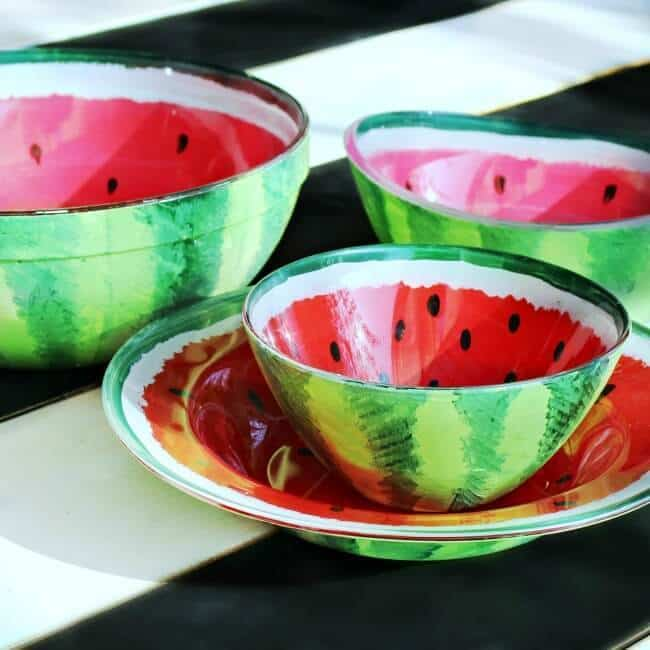 Bowls painted to look like watermelons.