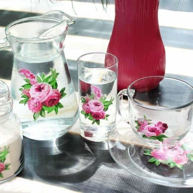 Learn how to make your own vintage floral glassware