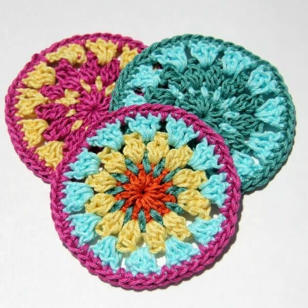 Colorful crocheted coasters