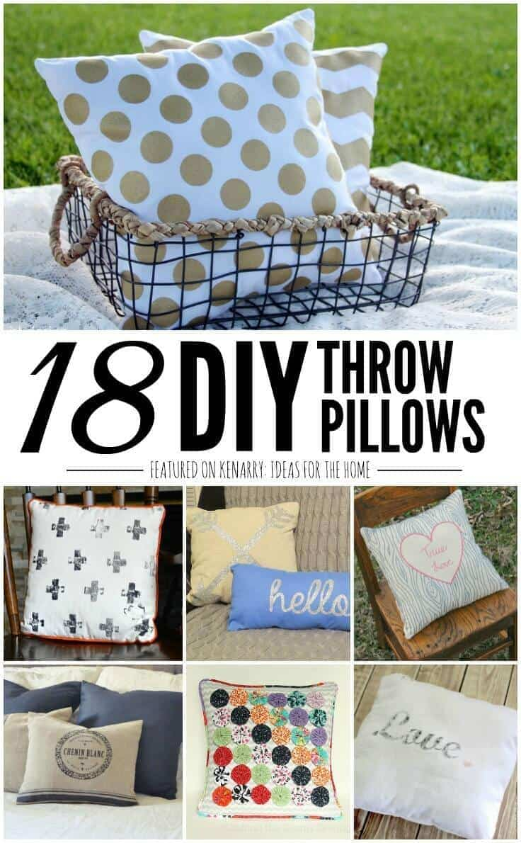 DIY Throw Pillow Tutorials: 18 Great Home Decor Ideas