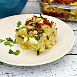 Oh yum! Bacon, spinach, feta cheese AND french fries for breakfast?! I can't wait to try this easy overnight egg casserole recipe.