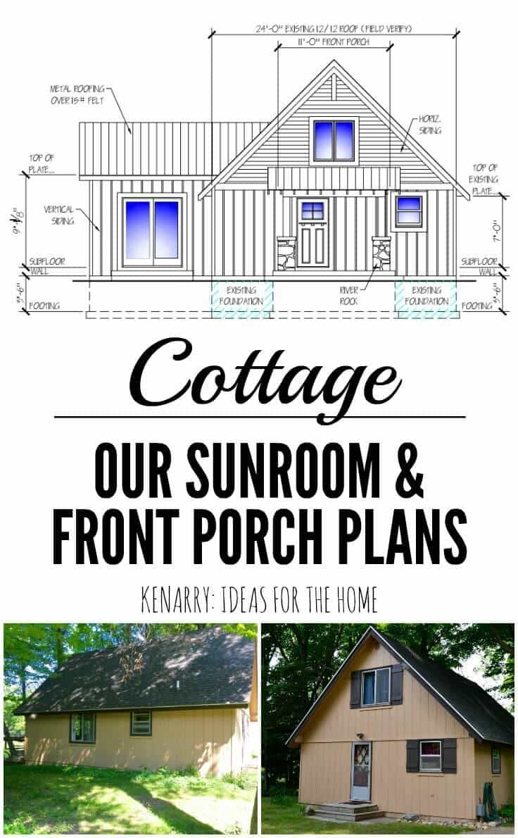 Can't wait to see how this DIY project turns out! The cottage renovations and ideas planned for this A-frame home include a new front porch with stone pillars and covered roof as well as a sunroom.