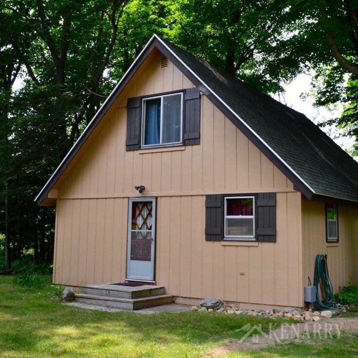 Wow! This little A-frame cabin was in desperate need of an extreme cottage makeover! I love seeing all the before/after photos as well as a video tour showing how this little home on a river has been transformed.