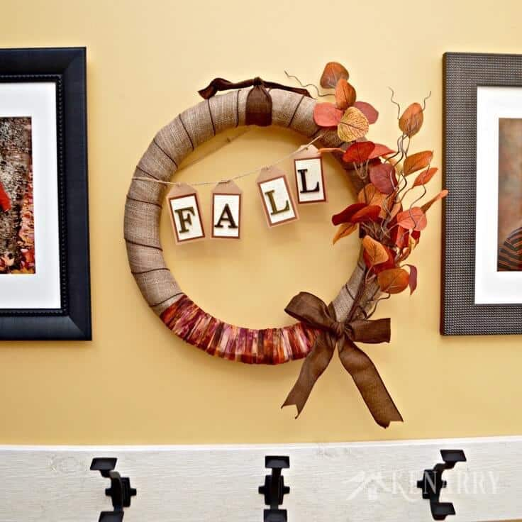fall burlap wreath tutorial: an easy craft decor idea