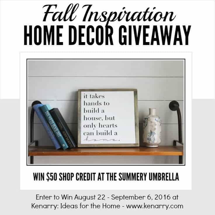 Enter to win $50 shop credit to The Summery Umbrella on Etsy in our Fall Inspiration Home Decor Giveaway, August 22 - September 6, 2016