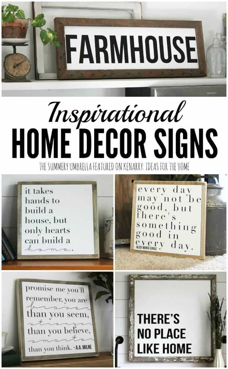Beautiful inspirational home decor signs from the summery umbrella which offers rustic home decor with a