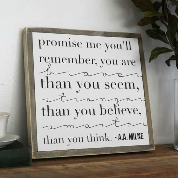 Promise Me You'll Remember Wood Sign - Inspirational Home Decor Signs from The Summery Umbrella featured on Kenarry.com