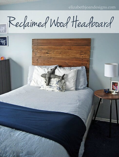 Reclaimed Wood Headboard – Elizabeth Joan Designs - DIY Headboard Tutorials and Ideas featured on Kenarry.com