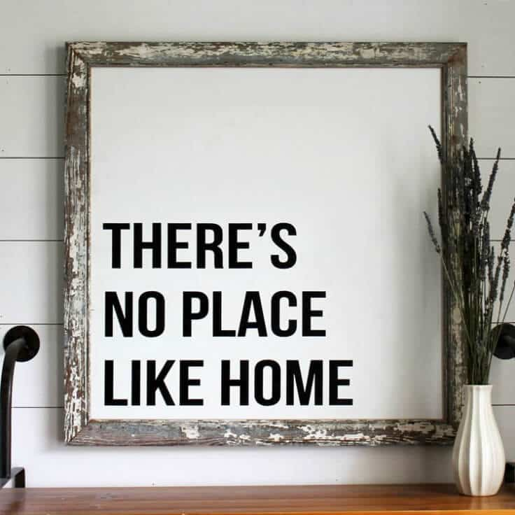 There's No Place Like Home Reclaimed Wood Sign - Inspirational Home Decor Signs from The Summery Umbrella featured on Kenarry.com