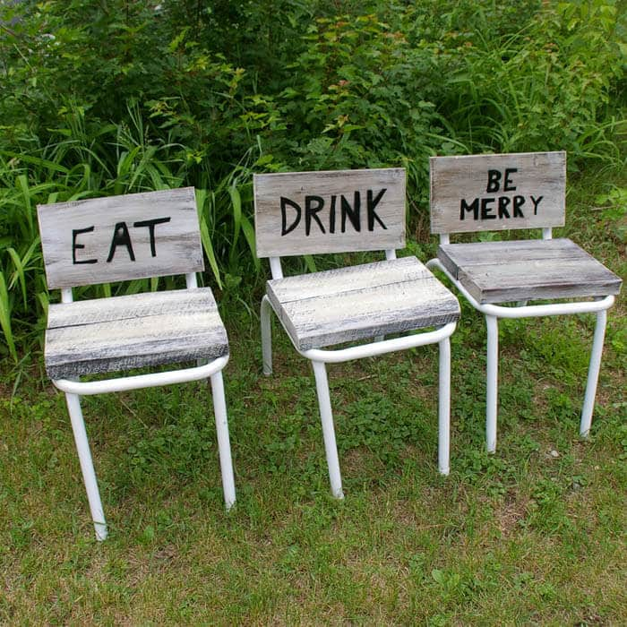 Eat Drink and Be Merry Barnwood outdoor chairs