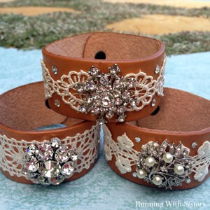 Learn to make Boho Chic Leather Bracelets using lace and rhinestone brooches.