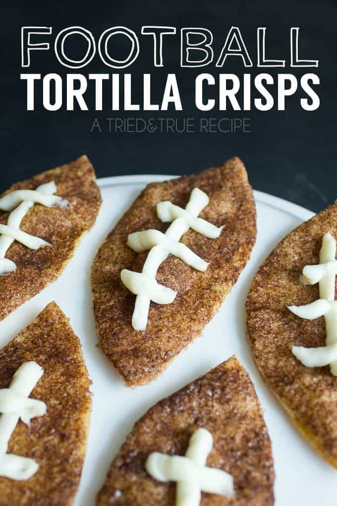 Football Tortilla Crisps – Tried and True - 14 Football Shaped Food Ideas featured on Kenarry.com