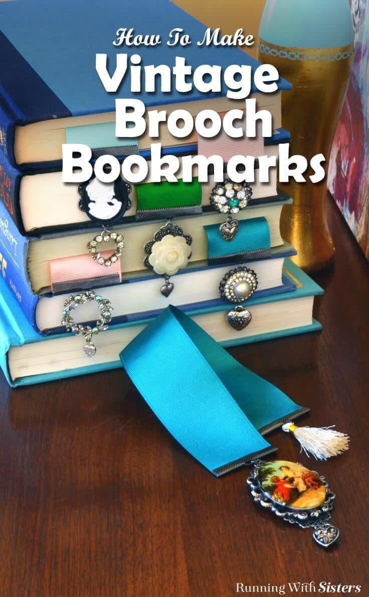 Upcycle rhinestone brooches into Vintage Brooch Bookmarks using metal filigrees and crimp ends. This how-to with video tutorial will show you how to make these pretty gift crafts!