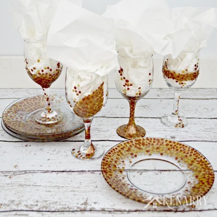 These fall hand painted wine glasses are so pretty and would make a great DIY gift for the holidays! This tutorial is easy to follow and I love the metallic paints in bronze, copper and champagne gold.