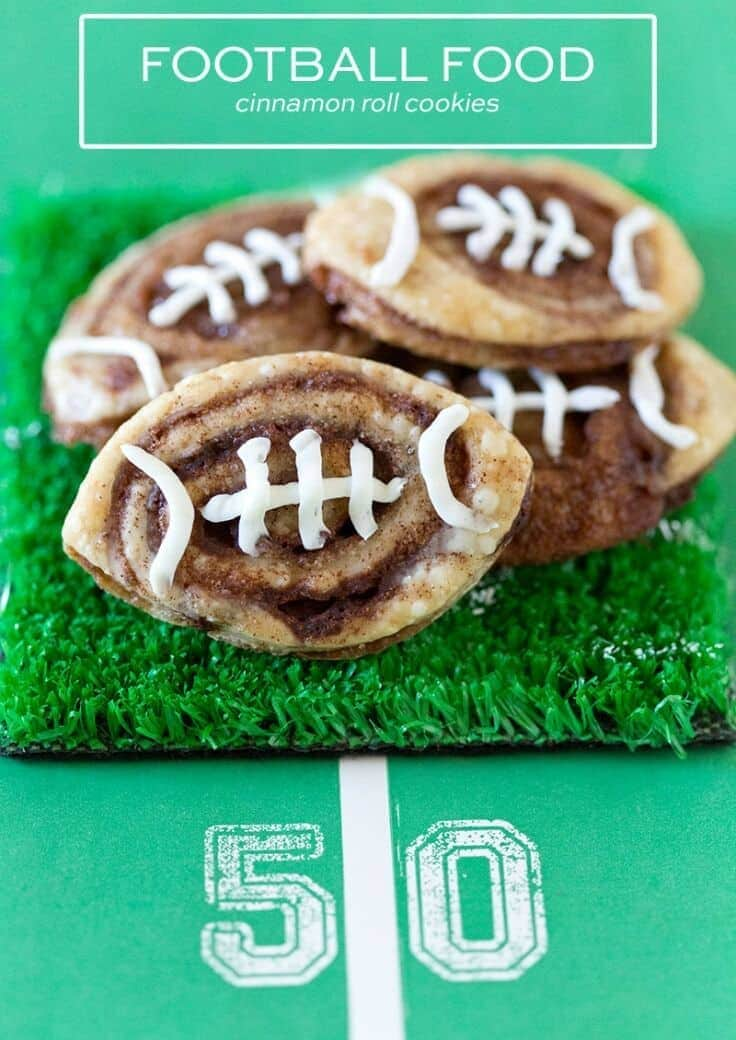Tailgate Food: Football Cinnamon Roll Cookies – Pizzazzerie - 14 Football Shaped Food Ideas featured on Kenarry.com