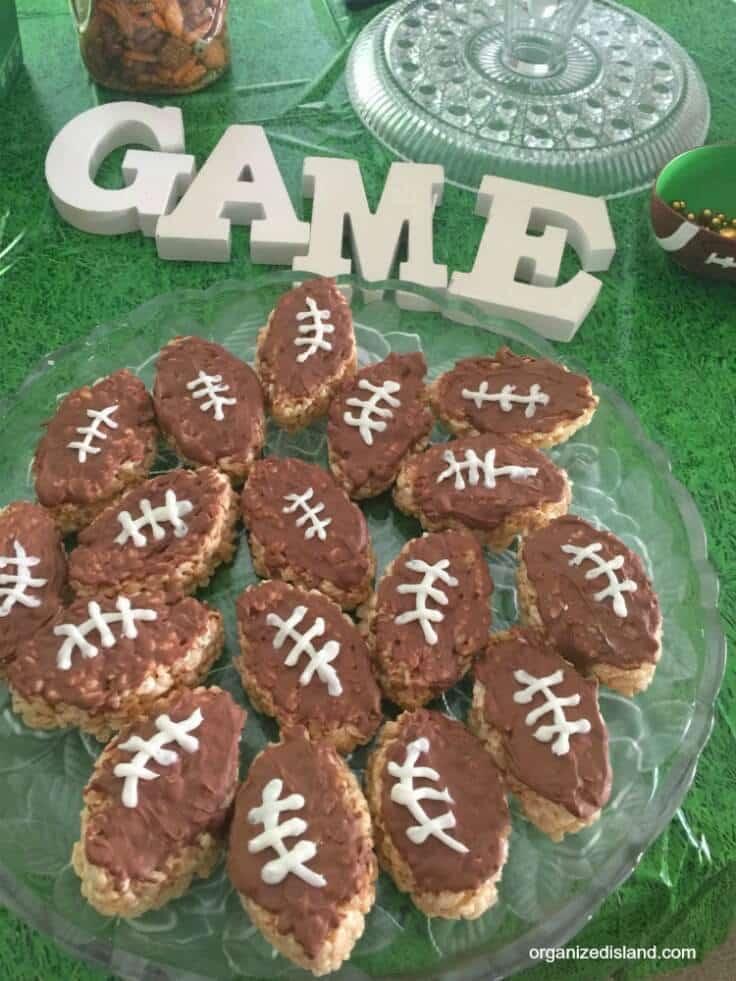 Football Rice Krispie Treats – Organized Island - 14 Football Shaped Food Ideas featured on Kenarry.com
