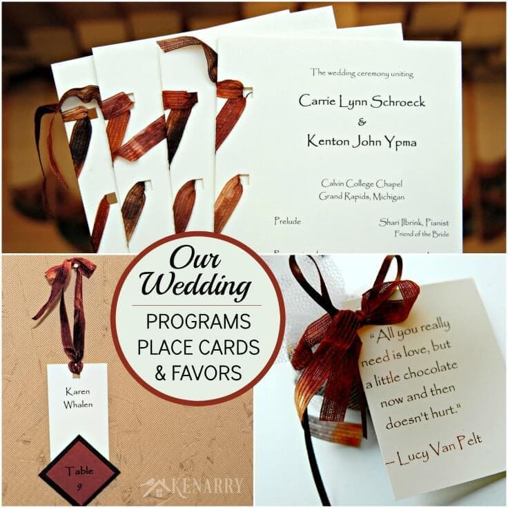 The same ribbon was used to decorate fall wedding programs, place cards and party favors