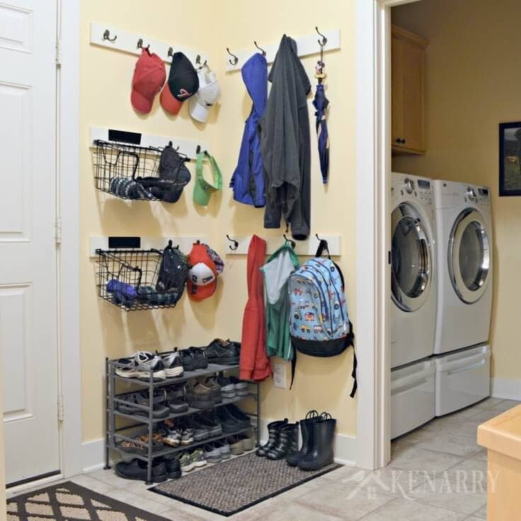 Adding Coat Hooks Hat Racks And Baskets To A Mudroom Or Back Hallway Is